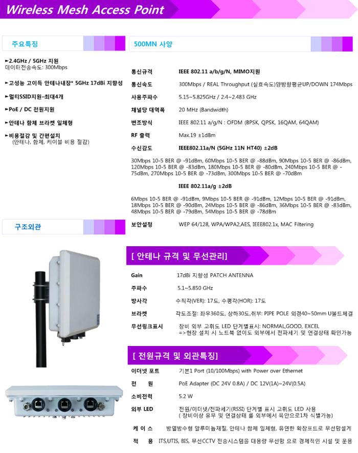 RF500MN 아웃도어 MESH AP(802.11agn) 300Mbps