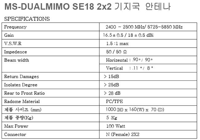 MS-DUALMIMO SE18 미모기지국안테나 무선랜통신(주)